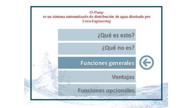 ¿Qué es esto? ¿Qué no es? Funciones generales O-Pump es un sistema automatizado de distribución de agua diseñado por Liwa ...