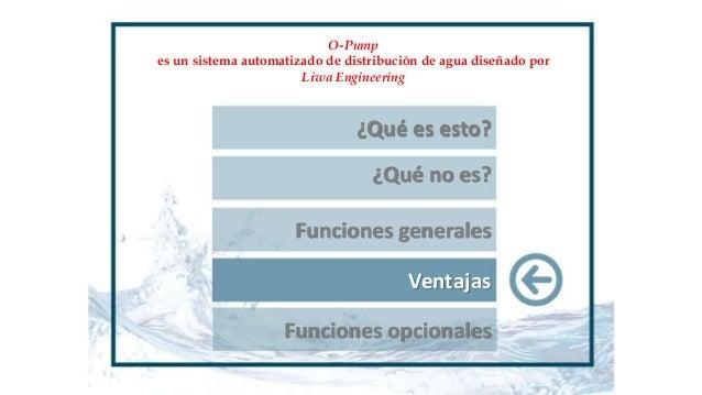 ¿Qué es esto? ¿Qué no es? Funciones generales Ventajas Funciones opcionales O-Pump es un sistema automatizado de distribuc...