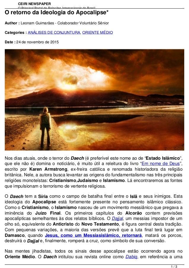 CEIRI NEWSPAPER O Principal Portal de Relações Internacionais do Brasil http://www.jornal.ceiri.com.brO retorno da Ideolog...