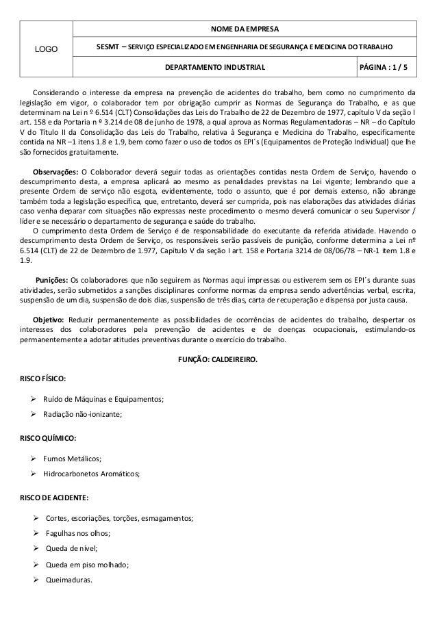 NOME DA EMPRESA    LOGO              SESMT – SERVIÇO ESPECIALIZADO EM ENGENHARIA DE SEGURANÇA E MEDICINA DO TRABALHO      ...