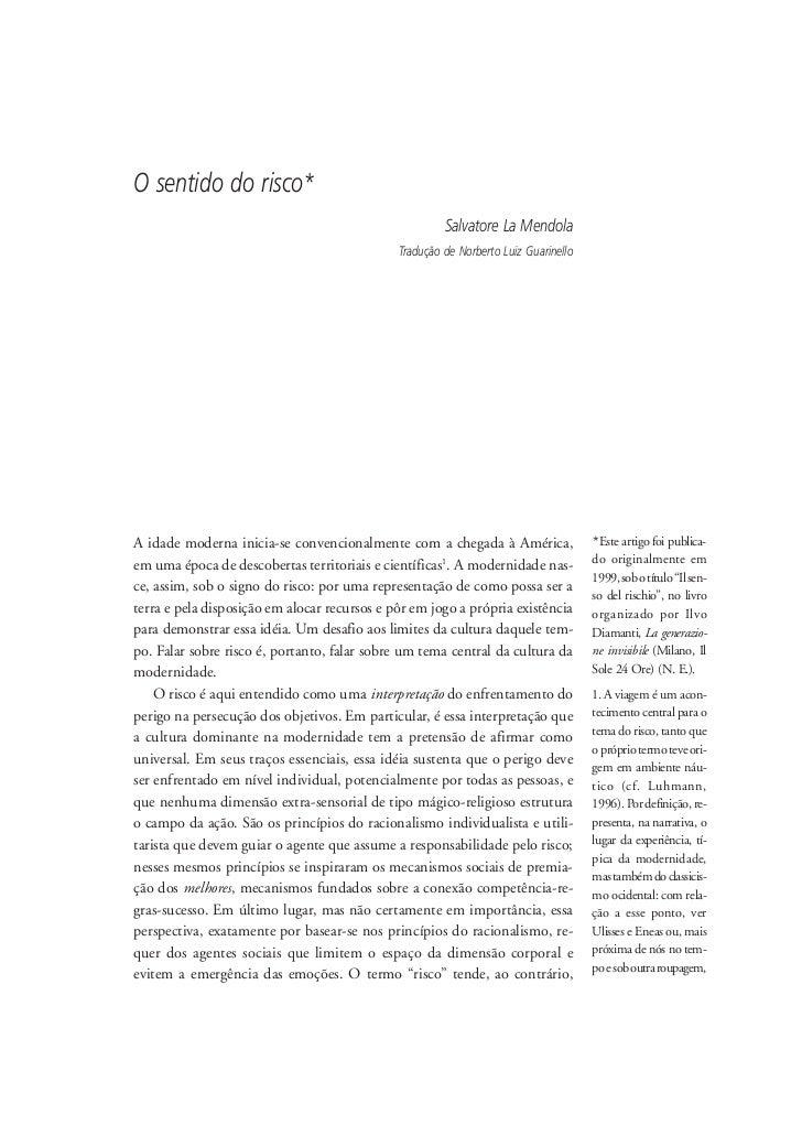 O sentido do risco*                                                        Salvatore La Mendola                           ...
