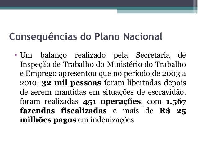Consequências do Plano Nacional • Um balanço realizado pela Secretaria de   Inspeção de Trabalho do Ministério do Trabalho...