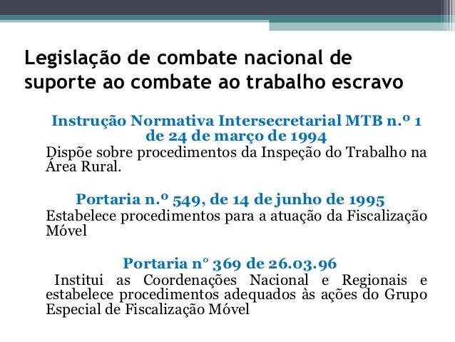 Legislação de combate nacional desuporte ao combate ao trabalho escravo   Instrução Normativa Intersecretarial MTB n.º 1  ...