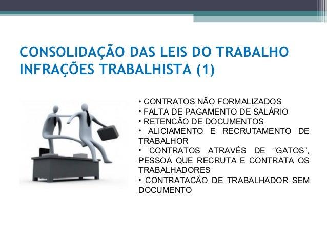 CONSOLIDAÇÃO DAS LEIS DO TRABALHOINFRAÇÕES TRABALHISTA (1)              • CONTRATOS NÃO FORMALIZADOS              • FALTA ...