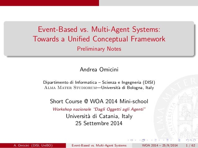 Event-Based vs. Multi-Agent Systems:  Towards a Uni