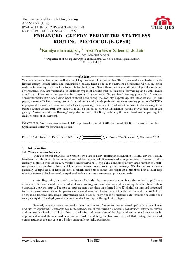 The International Journal of EngineeringAnd Science (IJES)||Volume|| 1 ||Issue|| 2 ||Pages|| 98-105 ||2012||ISSN: 2319 – 1...