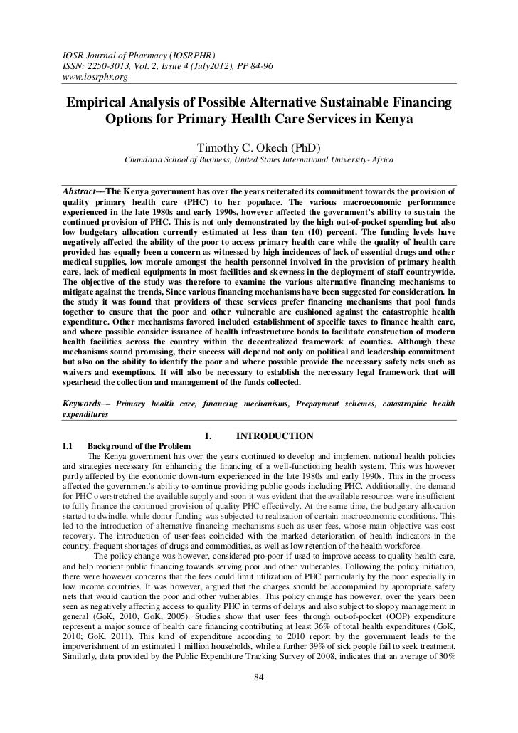 IOSR Journal of Pharmacy (IOSRPHR)ISSN: 2250-3013, Vol. 2, Issue 4 (July2012), PP 84-96www.iosrphr.org Empirical Analysis ...