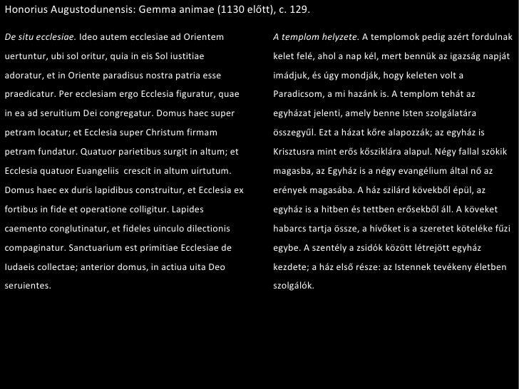 Honorius Augustodunensis: Gemma animae (1130 előtt), c. 129. De situ ecclesiae.  Ideo autem ecclesiae ad Orientem uertuntu...