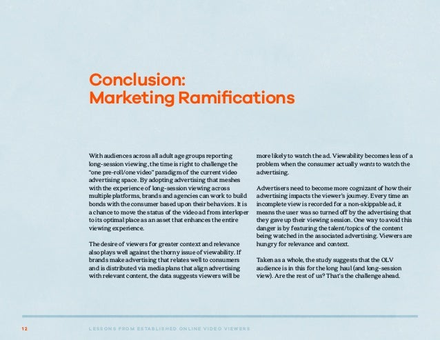L E S S O N S F R O M E S TA B L I S H E D O N L I N E V I D E O V I E W E R S1 2 Conclusion: Marketing Ramifications With...