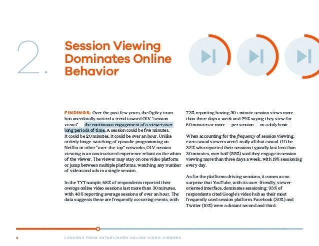 L E S S O N S F R O M E S TA B L I S H E D O N L I N E V I D E O V I E W E R S4 Session Viewing Dominates Online Behavior2...