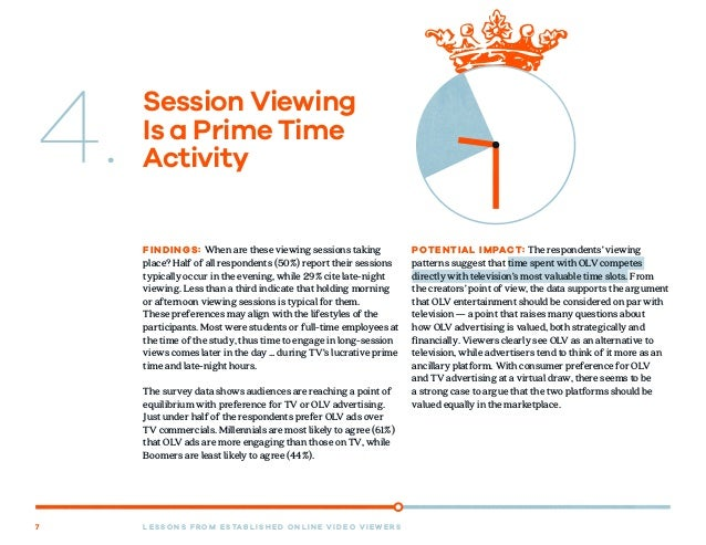 L E S S O N S F R O M E S TA B L I S H E D O N L I N E V I D E O V I E W E R S7 Session Viewing Is a Prime Time Activity F...