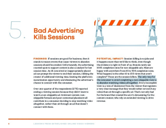 L E S S O N S F R O M E S TA B L I S H E D O N L I N E V I D E O V I E W E R S8 Bad Advertising Kills Sessions FINDINGS: I...