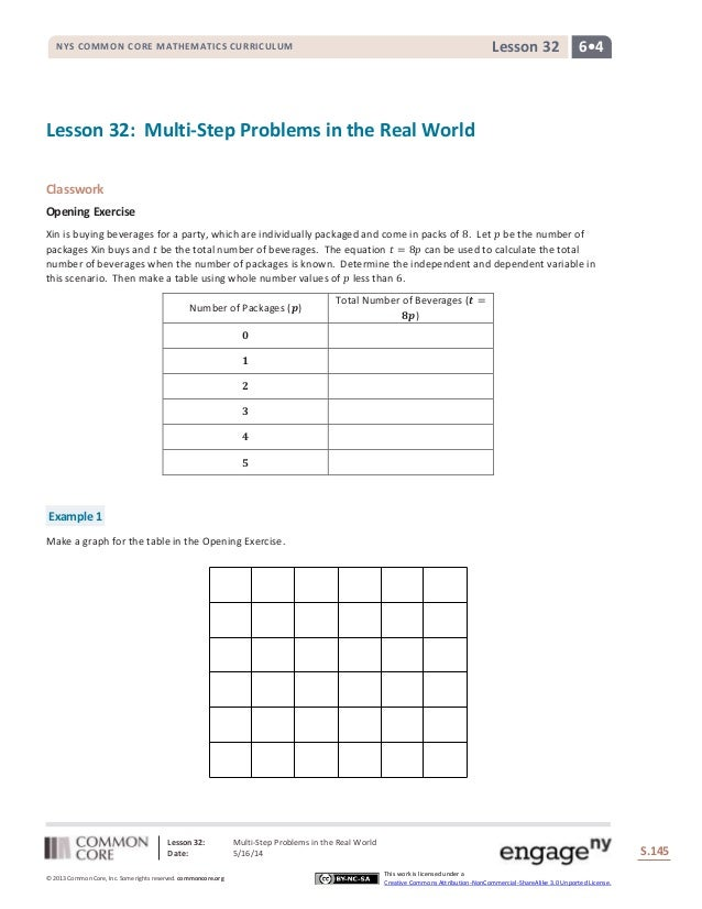 Lesson 32: Multi-Step Problems in the Real World Date: 5/16/14 S.145 145 © 2013 Common Core, Inc. Some rights reserved. co...