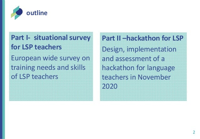Situational survey: teachers of Languages for Specific Purposes (LSP) in Europe and a hackathon as a training opportunity Slide 2