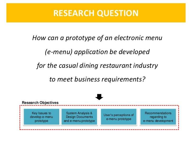 RESEARCH QUESTION     How can a prototype of an electronic menu             (e-menu) application be developed        for t...