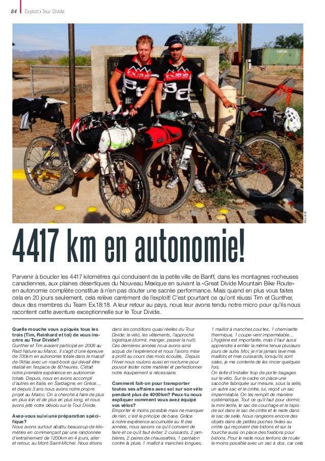 Exploit Tour Divide  4417 km en autonomie! Parvenir à boucler les 4417 kilomètres qui conduisent de la petite ville de Ban...