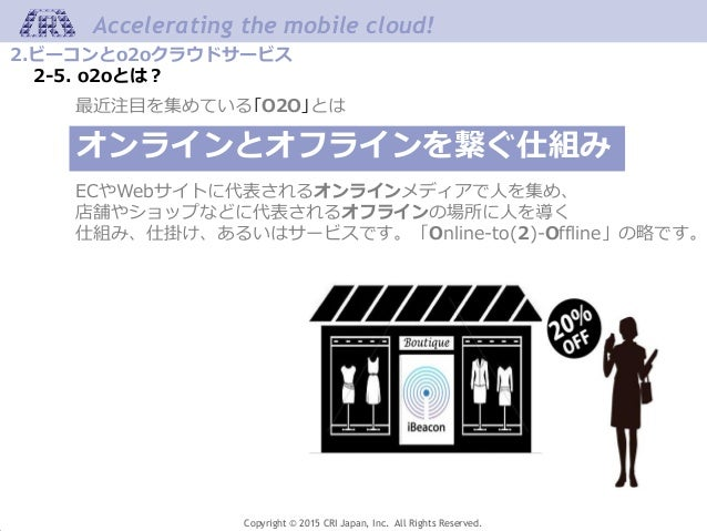 Copyright © 2015 CRI Japan, Inc. All Rights Reserved. Accelerating the mobile cloud! 2.ビーコンとo2oクラウドサービス 2-5. o2oとは? 最近注目を集...