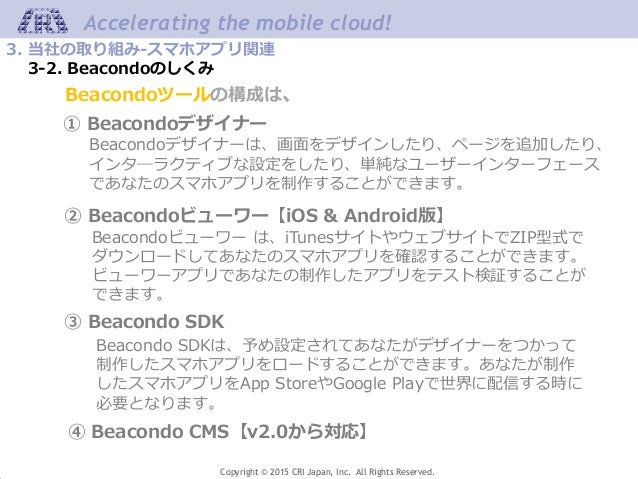 Copyright © 2015 CRI Japan, Inc. All Rights Reserved. Accelerating the mobile cloud! 3. 当社の取り組み-スマホアプリ関連 3-2. Beacondoのしくみ...