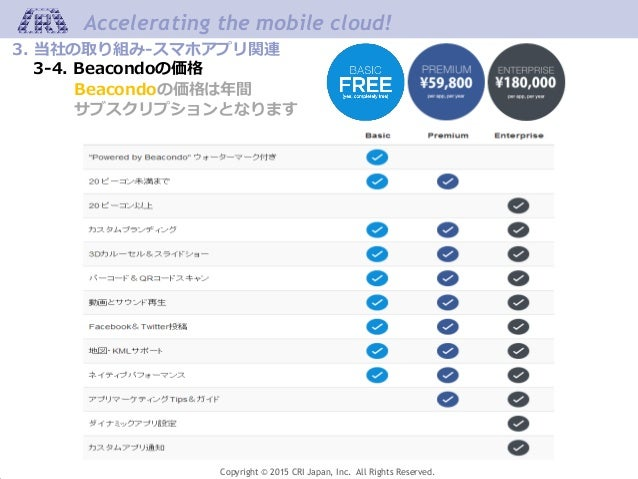 Copyright © 2015 CRI Japan, Inc. All Rights Reserved. Accelerating the mobile cloud! Beacondoの価格は年間 サブスクリプションとなります 3. 当社の取...