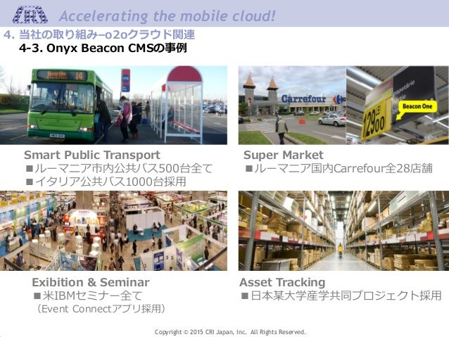 Copyright © 2015 CRI Japan, Inc. All Rights Reserved. Accelerating the mobile cloud! 4. 当社の取り組み–o2oクラウド関連 4-3. Onyx Beacon...