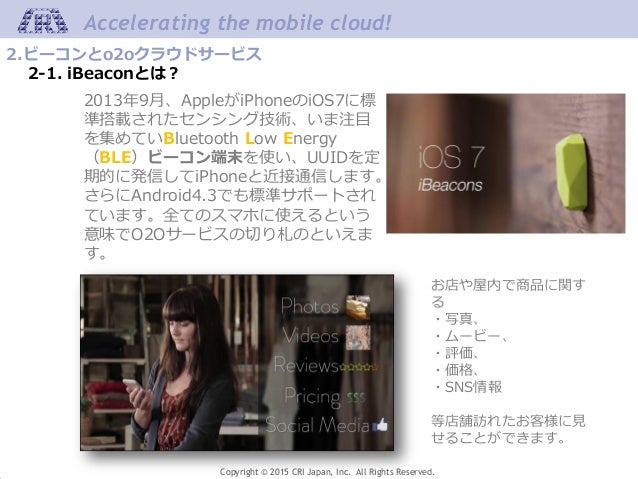Copyright © 2015 CRI Japan, Inc. All Rights Reserved. Accelerating the mobile cloud! 2.ビーコンとo2oクラウドサービス 2-1. iBeaconとは? お店...