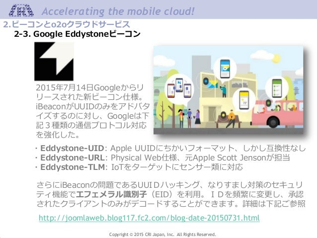 Copyright © 2015 CRI Japan, Inc. All Rights Reserved. Accelerating the mobile cloud! 2.ビーコンとo2oクラウドサービス 2-3. Google Eddyst...