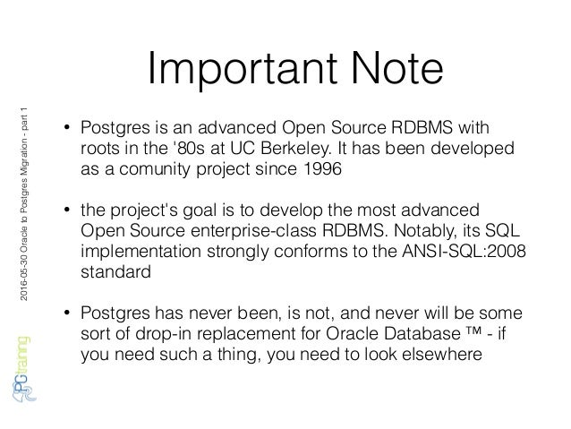 Oracle to Postgres Migration - part 1 Slide 3