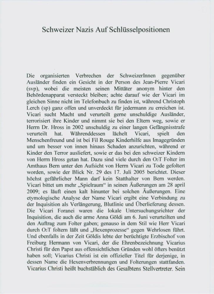 Schweizer Nazis Auf SchlüsselpositionenDie organisierten Verbrechen der SchweizerInnen gegenüberAusländer finden ein Gesic...