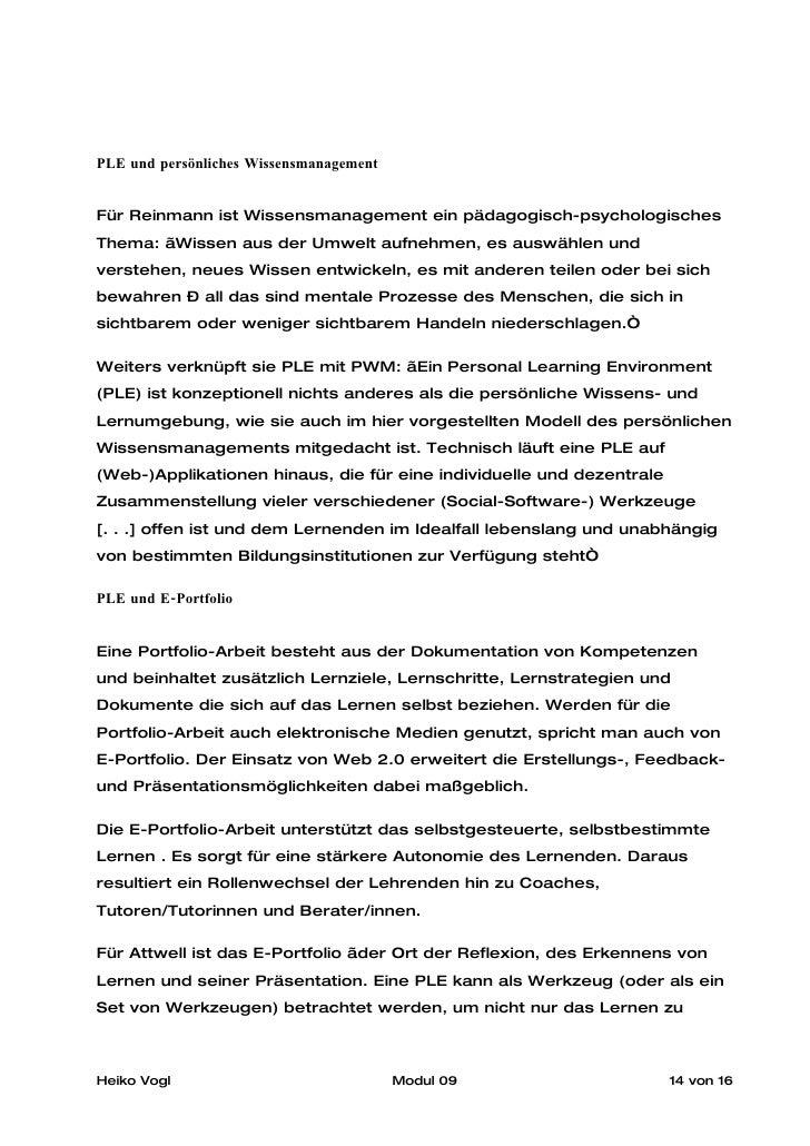 """PLE und persönliches Wissensmanagement   Für Reinmann ist Wissensmanagement ein pädagogisch-psychologisches Thema: """"Wissen..."""