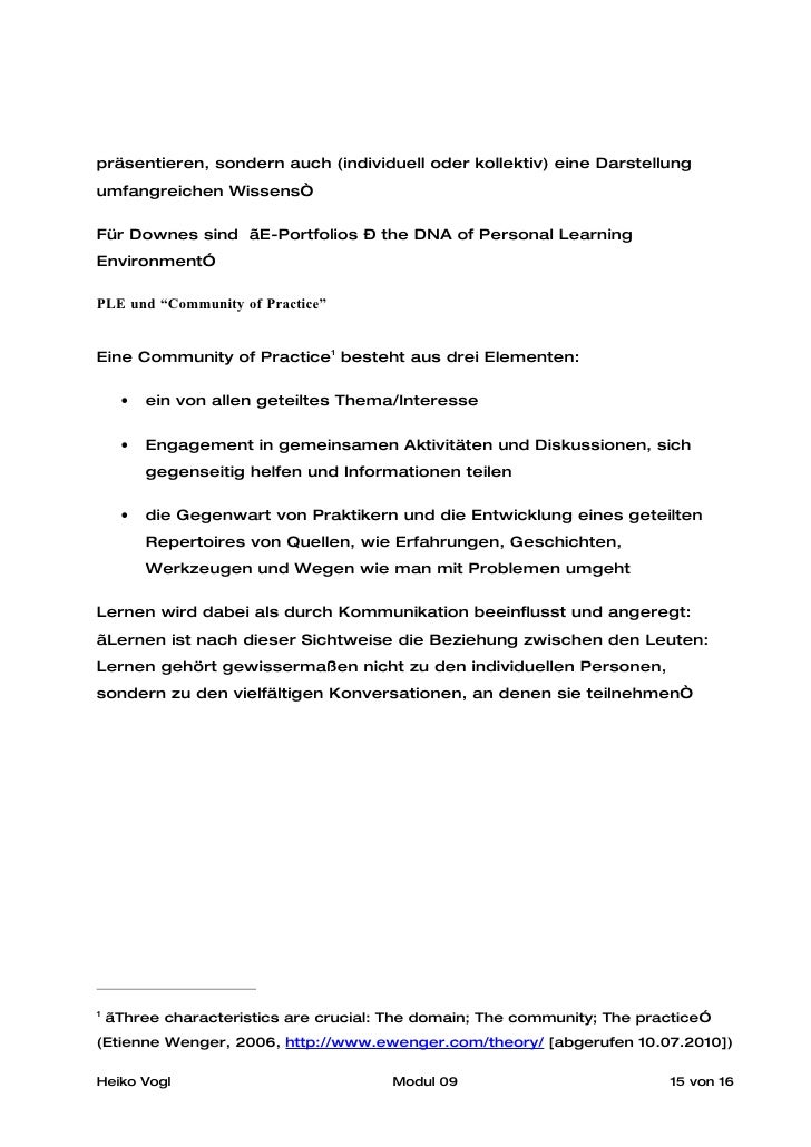 """präsentieren, sondern auch (individuell oder kollektiv) eine Darstellung umfangreichen Wissens""""  Für Downes sind """"E-Portfo..."""