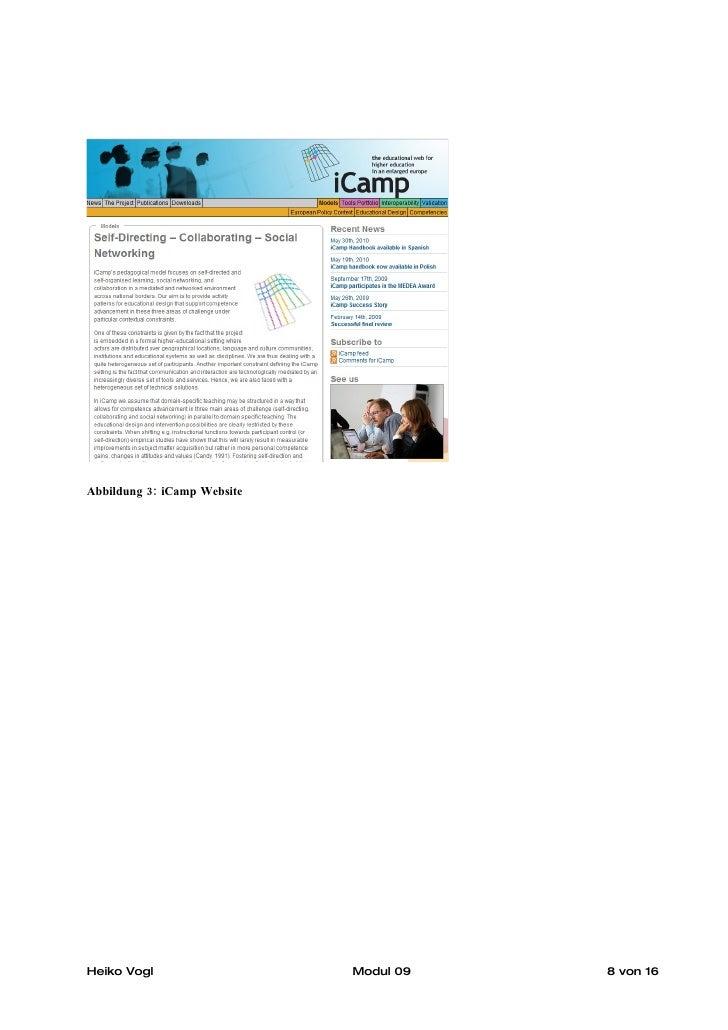 Abbildung 3: iCamp Website     Heiko Vogl                   Modul 09   8 von 16