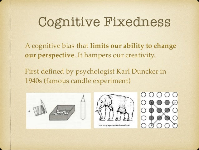 Cognitive Fixedness A cognitive bias that limits our ability to change our perspective. It hampers our creativity. First d...