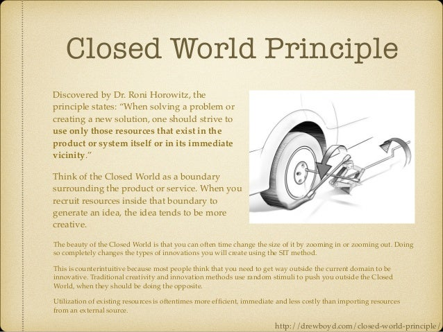 """Closed World Principle Discovered by Dr. Roni Horowitz, the principle states: """"When solving a problem or creating a new so..."""