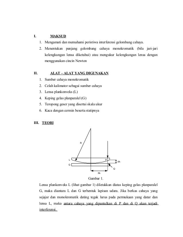 I.            MAKSUD      1. Mengamati dan memahami peristiwa interferensi gelombang cahaya.      2. Menentukan panjang ge...