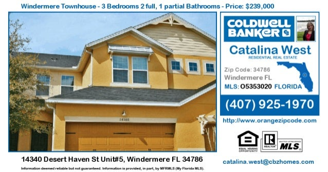 Windennere Townhouse - 3 Bedrooms 2 full,  1 partial Bathrooms - Price:  $239,000  Catalina West  RESIDENTIAL REAL ESTATE ...