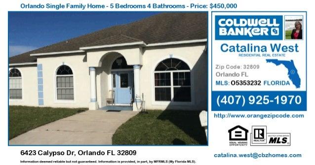 Orlando Single Family Home - 5 Bedrooms 4 Bathrooms - Price:  $450,000        6423 Calypso Dr,  Orlando FL 32809  Informat...