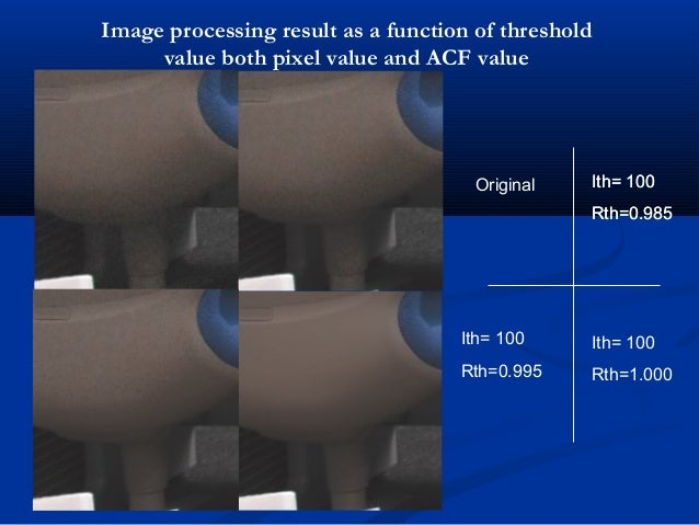 Original Ith= 100 Rth=0.985 Ith= 100 Rth=0.985 Ith= 100 Rth=0.995 Ith= 100 Rth=1.000 Image processing result as a function...