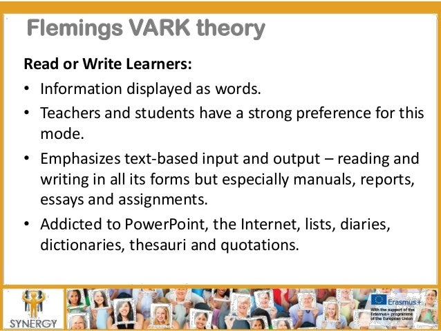 """vark assignment Different ways, with most being """"type"""" theories, as in they assign individuals into   1) assess coaches' and athletes' learning preferences (eg using the vark."""