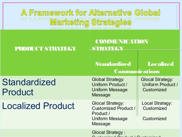 standardized and localized strategies Definition of localization: the practice of adjusting a product's functional properties and characteristics to accommodate the language, cultural.