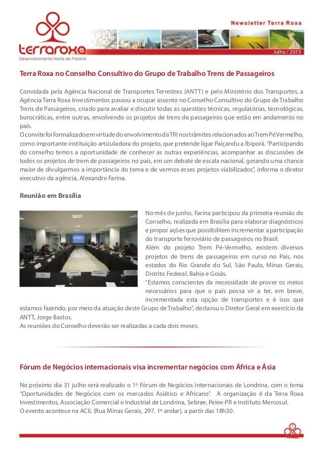 Julho / 2013  Terra Roxa no Conselho Consultivo do Grupo de Trabalho Trens de Passageiros  Convidada pela Agência Nacional...