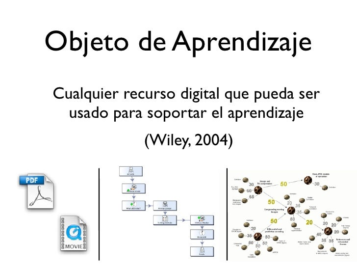 Objeto de Aprendizaje Cualquier recurso digital que pueda ser   usado para soportar el aprendizaje              (Wiley, 20...