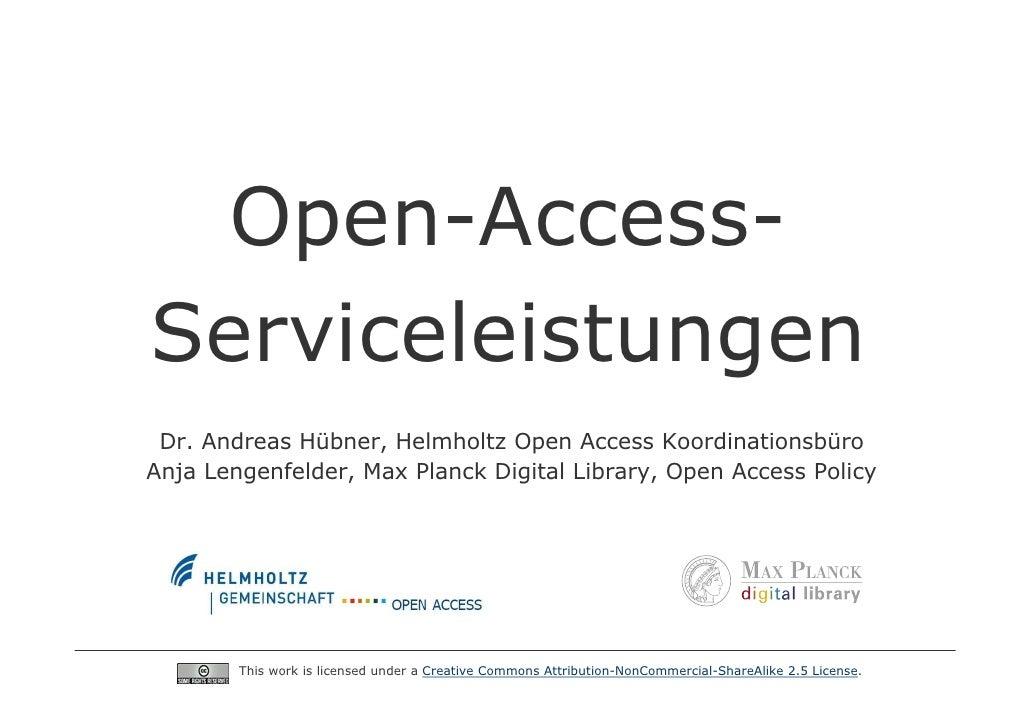 Open-Access-Serviceleistungen - Open-Access-Tage Berlin