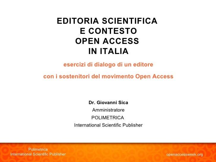 EDITORIA SCIENTIFICA                                  E CONTESTO                                 OPEN ACCESS              ...