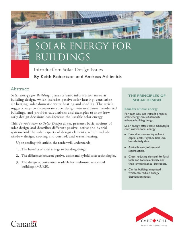 Solar Energy for Buildings Introduction: Solar Design Issues By Keith Robertson and Andreas Athienitis Abstract: Solar Ene...