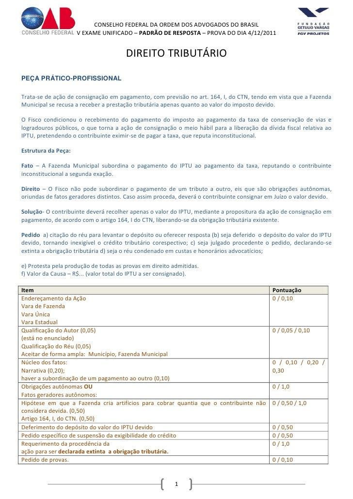 CONSELHO FEDERAL DA ORDEM DOS ADVOGADOS DO BRASIL                     V EXAME UNIFICADO – PADRÃO DE RESPOSTA – PROVA DO DI...