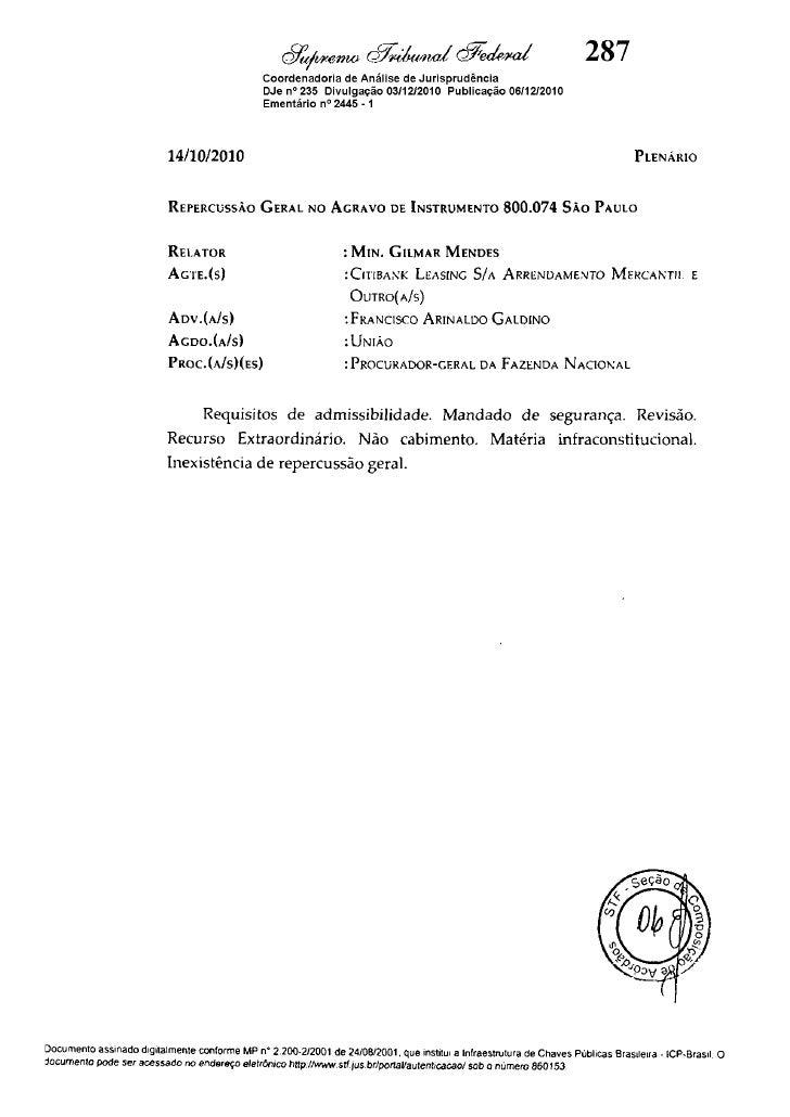 (2)GeralRepercussãosobreRGDecisão800074AI
