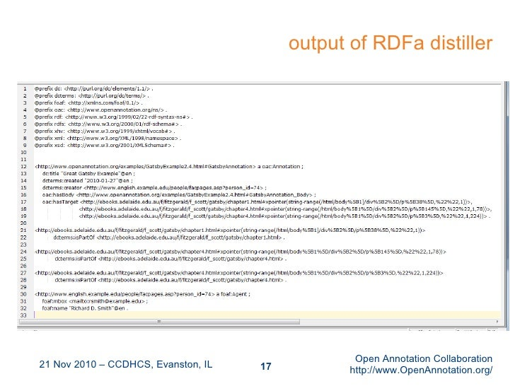 output of RDFa distiller 21 Nov 2010 – CCDHCS, Evanston, IL Open Annotation Collaboration http://www.OpenAnnotation.org/