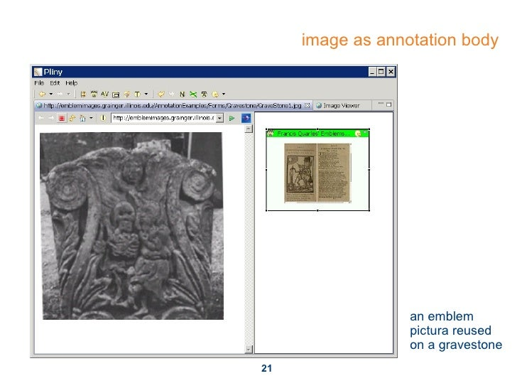 image as annotation body an emblem pictura reused on a gravestone