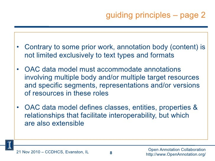 guiding principles – page 2 <ul><li>Contrary to some prior work, annotation body (content) is not limited exclusively to t...