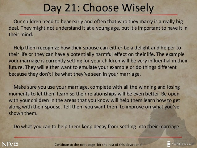 Day 21: Choose Wisely Our Children .